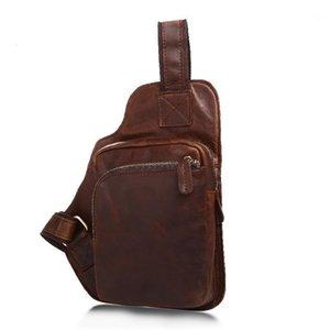 حقائب الخصر الرجال جلد طبيعي خمر حقيبة الصدر حقيبة الكتف الصغيرة للذكور حزام مجنون الحصان crossbody الصدر 1