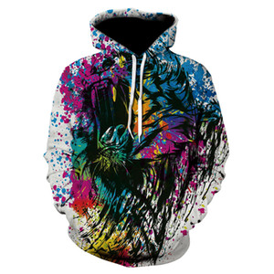 mens hoodie Hot style European and American street hooded long-sleeved jacket 3D printing plus size pullover sweater