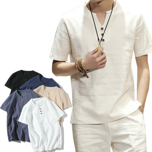 NOUVEAU Mode Hommes T-shirt 2021 Summer Hommes Coton Sid Casual Sans manches courtes Sleeve Chinois T-shirts Plus Taille