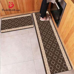 Bubble Kiss Door Mats Outdoor Lace Brown Geometric Pattern Strip Kitchen Mat Farmhouse Home Decor Kitchen Carpet Anti-Slip