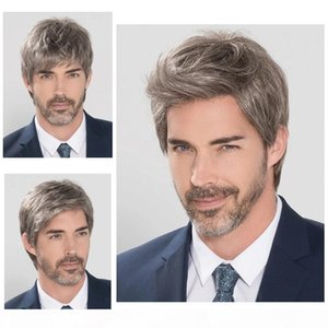 Short Straight Wig Heat Resistant Fiber Synthetic Wig For Men Middle-aged And Old Men's Wig Realistic Natural Toupee Wigs