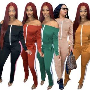 2020 Autumn New Women Contrast Color Patchwork Tracksuits Lady's Slash Neck Full Sleeve Zipper Coats High Waist Sweatpants Sets