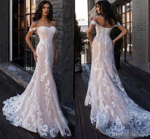 2020 Luxus-Erröten Rosa weg von der Schulter Brautkleid-elegante Spitze Appliqued Mermaid Beach Bohemain Plus Size Brautkleid BC2449