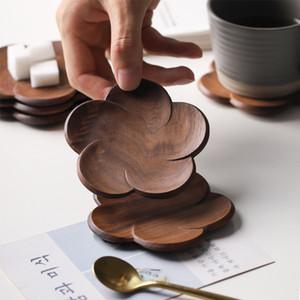 Walnut Wood Coasters Plum Blossom Shape Cup Pad Coffee Tea Cup Wooden Drink Mat Home Bar Office Mug Coaster YYS3921
