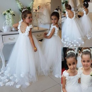 Formal Pearls Backless Kids Flower Girl Dresses For Wedding Sweep Train Girl's Princess Birthday Party First Communion Gowns