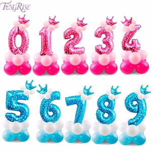 FENGRISE 17PCS Blue Pink Number Balloon 2nd 3rd 4th 5th 6th 7th 8th 9th 1st Balloons Birthday Party Decorations Kids