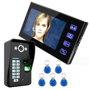 """Livraison gratuite! Ennio monotouche 7"""" Porte vidéo Lcd d'empreintes digitales Téléphone Interphone Wth 1 Caméra + 1 moniteur"""