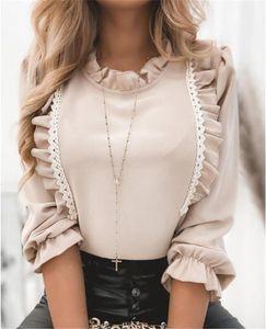 Long Sleeve Womens Tees Casual Womens Clothing Womens Designer Solid Color Tshirts Fashion Cute Falbala Panelled