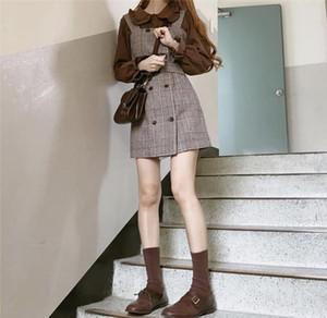Fille Plaid Chemisier Vintage Robe neuve Sans manches Sans manches Robes Femme Sundress Suit Bretelles Robe Femme Vestido séparément