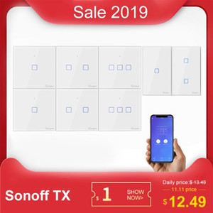 SONOFF Tx T0 US EU UK 1 2 3 Gang Wifi Wall Light Switch Panel Touch Voice APP Control Eweilink Smart Home Automation Alexa IFTTT