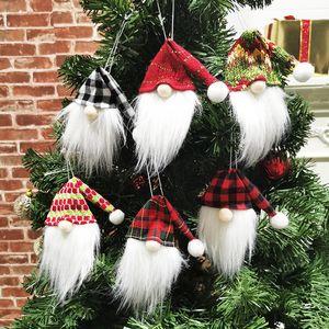 Lucky Christmas Tinto Botella de vino Tapa Muñeca sin rostro Árbol de Navidad Colgante Botella Cubiertas Festival Partido Capas Colgantes Decoraciones para el hogar E110303