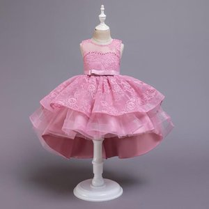 Lovely Tulle Pink Flower Girl Dresses for Weddings Scoop Neck Sleeves Applique Communion Dress Girls Pageant Gowns
