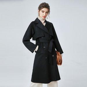 Neue Kollektion Frauen Doppel-Kaschmirmantel Reverskragen mit langen Ärmeln Zweireiher verstellbarer Gürtel Elegante Oberbekleidung Wintermantel