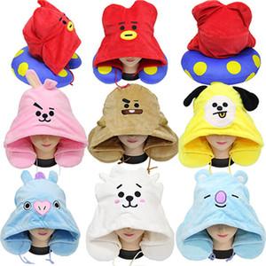 7 색 만화 만화 봉제 동물 모자 쿠션 U 모양의 열 목 베개 사랑스러운 귀여운 다채로운 수 놓은 베개 DHF2807