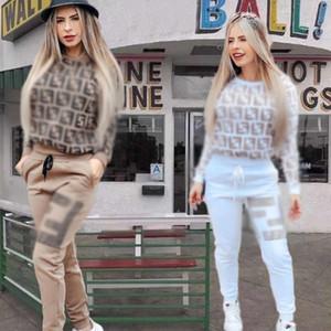 2020 Designer Fendi Fending Frauen 2 Zweiteiler Outfits klassische Mode-Herbst-Winter-Frau, die langen Hülse Street Casual Damen Pullover Hosenanzug