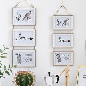 3 Связанные комбинированные стены висит фото рамка бесшовные ногтей европейский твердый деревянный клип бумаги фото держатель украшения стены