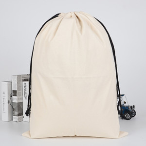 2020 Washable Reusable Canvas Drawstring Bag Blank White Xmas Gift Package Storage Pouch Cosmetic Cotton Handbag FF262