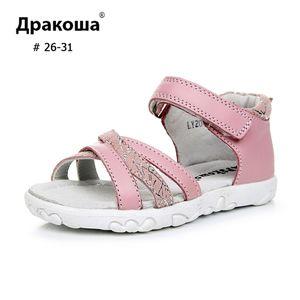 """APAKOWA menina Couro Verão Criança Sandals Cruz Casual """"X"""" Shoes Modelo Único HookLoop Crianças Feetwear C1003"""