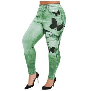 Womens polainas de fitness más el tamaño ocasional de imitación del vaquero empuje hacia arriba elasticidad de las polainas diseño corto y pantalones para mujer de la ropa