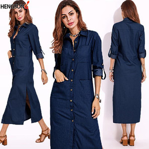Gaeoke Femmes Plus Taille Jeans Robe Spring longue manches à manches longues Collier Maxi Robe Femme Femme Femme Vestidos 739093