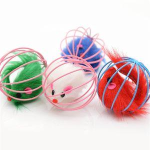 Cat Interactive Toy Metallkugelkäfig mit Plüschmaus Innen Pet Verkratzen Spielzeug Kitten Teaser für Maus-Kugel