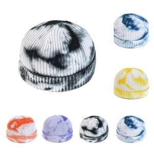 quente malha Chapéus tingido laço Hat Crochet Caps Orelha Moda Rodada Muff Crânio Cap Gradiente de cor quente chapéus do partido 6 estilo Gorros T2C5281-1