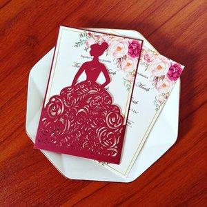 Burgoundy Girl Princess Quinceañera Invitaciones DIY Personalizar Imprimir Tarjetas de boda con Sobre Sweet 15 Invitaciones con Sobre