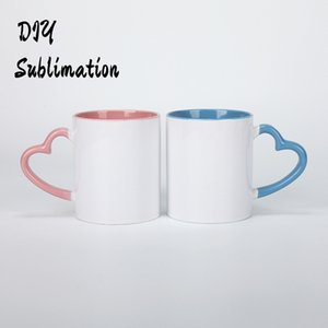 DIY Sublimation 11oz Ceramic Mug with Heart Handle 320ml Cups with Colorful Inner Coating Special Water Bottle Coffee Pottery