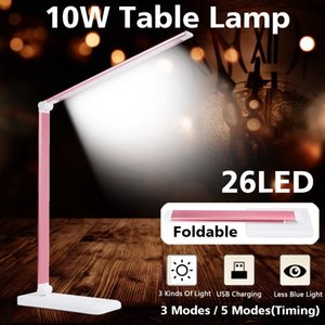 3 5 modes Dimmable Desk Reading Light Foldable Rotatable Touch Switch LED Table Lamp 10W USB Charging Port Timing Desk Lamp C0930