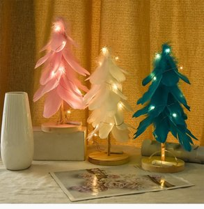 Aiccossr Feather Christmas Tree with LED Lights Wooden Base Tabletop Night Lamp Artificial Desktop Ornament for Home Bedroom