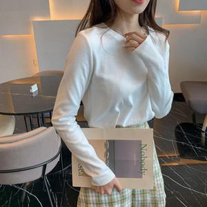 New White Plus Velvet Warm Top Oversized Women's T Shirts Winter Size Korean Style Long Sleeve T-shirt Clothing Woman Tshirts