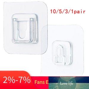 1 par de ganchos de pared autoadhesivos de doble cara 6 * 6 cm Ganchos sin costuras Organizador de gancho montado en la pared antideslizante reutilizable