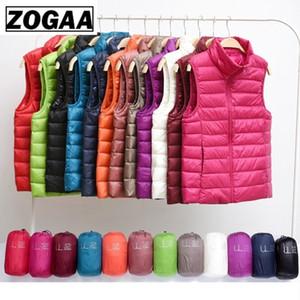 Zogaa Brand Woman Winter Vest Cotton Sleeveless Womens Jackets 12 Colors Ultralight Down Jacket Puffer Vest Outwear Warm Coat 201016