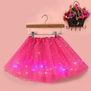 Summer New Women Star Sequins Tulle Skirt Party Empire Mesh Pleated Princess Skirt With Led Small Bulb Mini Female Clothes