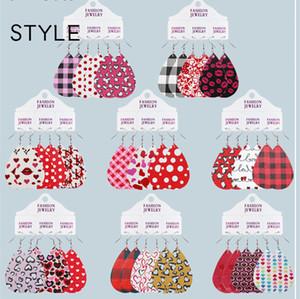 Novos 3 conjuntos Dia dos Namorados Polak Dot Love Leopard Imprimir Coração Lábios Vermelhos Lábios de Água Brincos De Couro Para Mulheres Jóias Presente Fashion Creativity