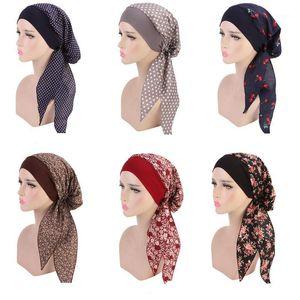 Women Muslim Hat Turban Bonnet Long Tail Floral Print Head Cover Wrap Caps Cancer Chemo Islamic Arab Headwear Skullies Caps1