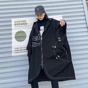 2020 Women's Spring Autumn New Loose Hooded Nine Quarter Sleeve Jacket Casual Black Letter Printed Big Size Jacket Big Size