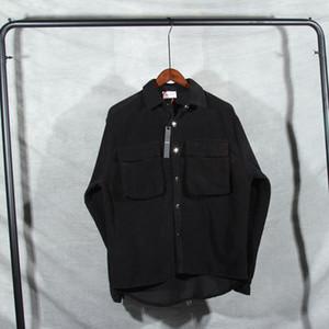 Pics reales 2021FW Velvet Big Bolsillo con cremallera Herramientas Hombres Mujeres Pareja 100% algodón chaqueta hiphop de gran tamaño Chaqueta de calle