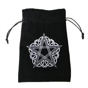 13x18cm Толстые Velvet Pentagram Карты Таро для хранения сумки Защитные карты Организатор Чехол Настольные игры Вышивка Drawstring Сумки yxlspM