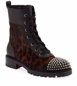 Marca de moda inverno TS CROC Botas Mulheres Red inferior Botas Lady Sapatinho Leopard couro Combat Boots Spikes Red Sole Bottes motocicleta