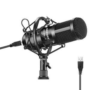 Newer usb microfone 192khz / 24bit plugplay computador cardioid mic podcast condensador microfone com chipset de som profissional 201110
