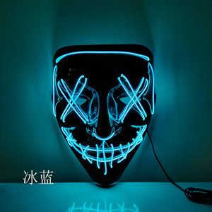 Halloween LED Luminescent Mask Halloween Role-Playing Costume Masks DJ Party Light Up Masks Glow In Dark 10 Colors To Choose WWW