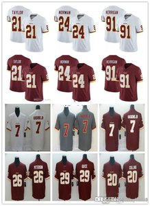 Men Women WashingtonRedskin 91 Ryan Kerrigan 21 Sean Taylor 7 Dwayne Haskins JR 24 Josh Norman Landon Collins NFLFootball Jersey