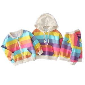 New Baby Boys Girls Coat Children Rainbow Striped Top Kids Long Sleeve T-shirt Hooded Sweater Zip Cardigan 3 Models Y200919
