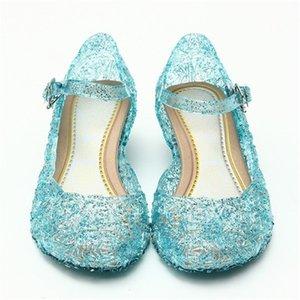 Enfants Chaussures d'été Cristal gelée de Toe fermé Anti-Slip pantoufles de danse cosplay Frozen filles Party princesse Chaussures