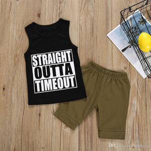 Baby Kids Clothing Set Summer Letter Printed Veat Tops Solid Shorts Two-Piece Sets Kids Casual Clothes Boys 9M-3T 07