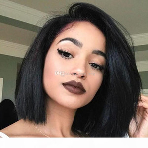 Yaki Straight Bob Wigs With Baby Hair Peruvian Virgin Hair Glueless Full Lace Human Hair Wigs For Black Women