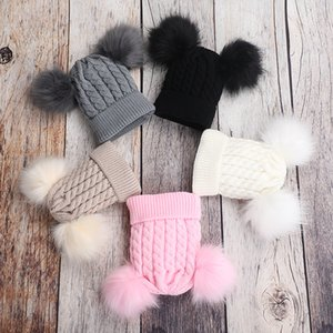 Baby Winter Toddler Baby Kids Faux Fur Hat Cap Beanie Children Double Pompom Fur Ball Knitted Hat for Boys Girls Bonnet