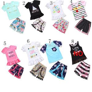 Baby Rougle Outfits Girls Письмо топ + цветочные шорты для печати 2 шт. / Набор 2018 INS Boutique Kids Tassel Pompon Одежда для одежды 7 стилей C3630