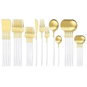Уборка посуды из нержавеющей стали набор ножей вилка Coffe ложка ужин набор столовых приборов набор посуда набор домашний кухня белое золото 30 шт. / Комплект по морю GWF4642